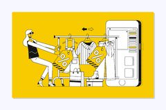 Landa sidamallen av online-shopping Nätt kvinna som direktanslutet shoppar stock illustrationer