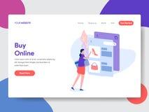 Landa sidamallen av online-shopping r vektor stock illustrationer
