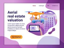 Landa sidamallen av projektet med den flyg- Real Estate värderingen Det plana designbegreppet av webbsidadesignen för en mobil vektor illustrationer