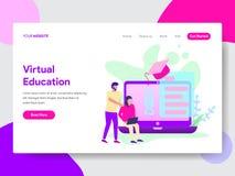Landa sidamallen av studenten med online-begrepp för utbildningsillustrationillustration Modernt plant designbegrepp av webbsidan stock illustrationer