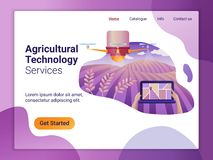 Landa sidamallen av surret eller quadcopter för jordbruk Det plana designbegreppet av webbsidadesignen för en mobil website royaltyfri illustrationer
