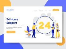 Landa sidamallen av 24 timmar Live Support Illustration Concept Modernt plant designbegrepp av webbsidadesignen för website och royaltyfri illustrationer