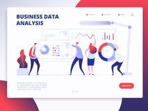 Landa sidamallen Digital som marknadsför analytikeren som marknadsför design för affärswebsitevektor med tecknad filmfolk stock illustrationer