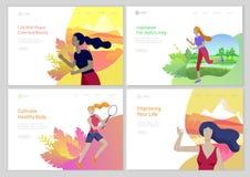 Landa sidamallen med för livstil för kvinna healty begrepp Utomhus- aktiviteter för flicka, spring, lektennis som gör yoga stock illustrationer