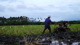 Landarbeiter benutzt den Handtraktor, der Maschine pflügt, um sich für das Reispflanzen vorzubereiten stock video