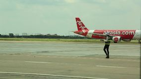 Landat luftAsien flygplan lager videofilmer