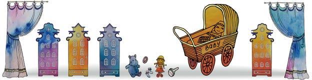 Landau de rideau en maison de bébé de gorisontel de bannière illustration stock