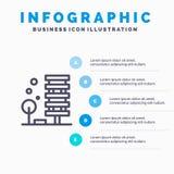 Landbouw, Architectuur, de Bouw, Stad, het pictogram van de Milieulijn met infographicsachtergrond van de 5 stappenpresentatie stock illustratie