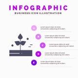 Landbouw, Blad, Installatie, Regen, Regenachtig Stevig Pictogram Infographics 5 de Achtergrond van de Stappenpresentatie vector illustratie