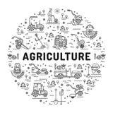 Landbouw en de landbouw de pictogrammen van de lijnkunst, landbouwbedrijfinfographics stock illustratie