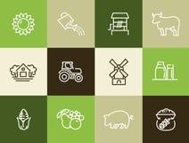 Landbouw en de landbouw geplaatste pictogrammen Stock Foto