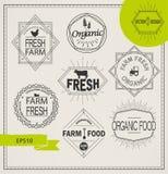 Landbouw en organische landbouwbedrijfemblemen Stock Foto