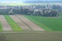 Landbouw gebied van de lucht stock afbeelding