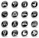 Landbouw geplaatste pictogrammen Stock Foto