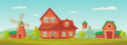 Landbouw Landbouwbedrijf landelijk landschap met rode schuur, huis en boerderij, watertoren en hooiberg stock illustratie
