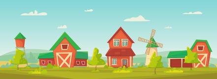 Landbouw Landbouwbedrijf landelijk landschap met rode schuur, huis en boerderij, watertoren en hooiberg royalty-vrije illustratie