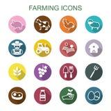 Landbouw lange schaduwpictogrammen royalty-vrije illustratie