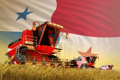 Landbouw maaidorser die aan tarwegebied werken met de vlagachtergrond van Panama, het concept van de voedselproductie - industri? royalty-vrije illustratie