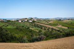 Landbouw, mening van de gebieden en de landbouwbedrijven in Italië stock fotografie