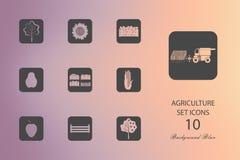 Landbouw Reeks vlakke pictogrammen op vage achtergrond vector illustratie