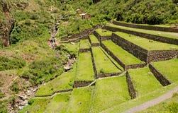 Landbouw terrassen bij de Inca plaats Pisac, Peru royalty-vrije stock afbeeldingen