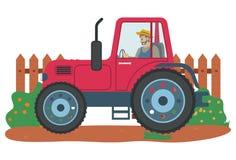 Landbouw van de mensen de Drijftractor en de Landbouwvector vector illustratie