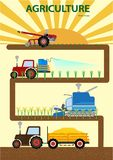 Landbouw vegettable infographic Landbouwer Driving Agricultural Machinery stock illustratie