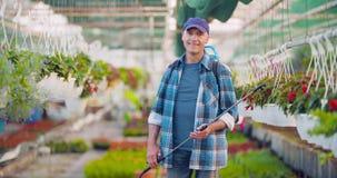 Landbouw zekere mannelijke tuinman die ingemaakte bloeminstallatie onderzoeken stock footage