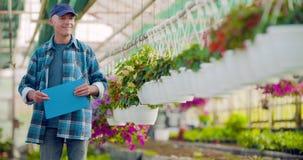 Landbouw zekere mannelijke tuinman die ingemaakte bloeminstallatie onderzoekt stock footage
