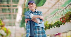 Landbouw zekere mannelijke tuinman die ingemaakte bloeminstallatie onderzoekt stock videobeelden