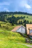 Landbouwbedrijf bij de lente in Alpen, in Zwitserland Stock Afbeeldingen