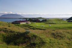 Landbouwbedrijf bij meer Myvatn, IJsland Stock Afbeeldingen