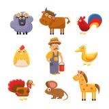 Landbouwbedrijf Dierlijke Inzameling Kleurrijke Vector Royalty-vrije Stock Afbeeldingen