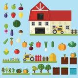Landbouwbedrijf in dorpselementen voor spel Stock Foto