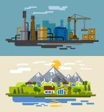Landbouwbedrijf en fabriek Royalty-vrije Stock Afbeelding