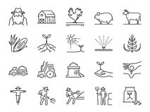 Landbouwbedrijf en het pictogramreeks van de landbouwlijn Omvatte de pictogrammen als landbouwer, cultuur, installatie, gewas, ve Stock Foto's