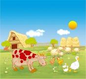 Landbouwbedrijf en landbouwbedrijfdieren Royalty-vrije Stock Foto's