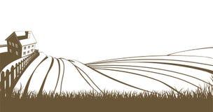 Landbouwbedrijf en rollende heuvels Stock Afbeelding