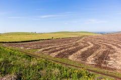 Landbouwbedrijf Geoogst Landschap Stock Foto's