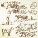 Landbouwbedrijf, landbouwdorp Stock Afbeelding