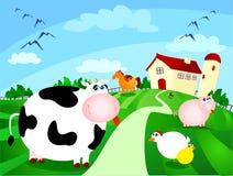Landbouwbedrijf met dieren Stock Fotografie