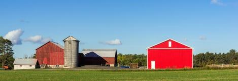Landbouwbedrijf met een oude en nieuwe schuur Stock Foto