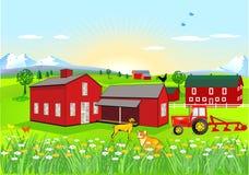 Landbouwbedrijf met Hond en Kat royalty-vrije illustratie