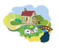 Landbouwbedrijf met koeien vector illustratie