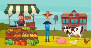 Landbouwbedrijf met landbouwers, producten en dieren wordt geplaatst dat De vectorillustratie van het beeldverhaal royalty-vrije illustratie