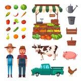 Landbouwbedrijf met landbouwers, producten en dieren wordt geplaatst dat De vectorillustratie van het beeldverhaal Stock Afbeeldingen