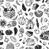 Landbouwbedrijf, oogst, groenten en vruchten Stock Foto