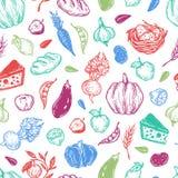 Landbouwbedrijf, oogst, groenten en vruchten Patroon Stock Foto