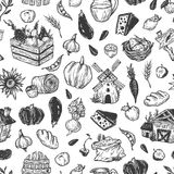 Landbouwbedrijf, oogst, groenten en vruchten Patroon Royalty-vrije Stock Foto's