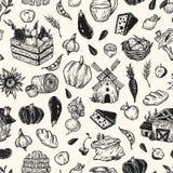 Landbouwbedrijf, oogst, groenten en vruchten Patroon Stock Afbeelding